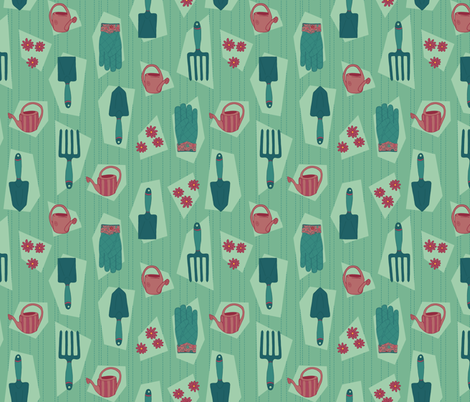 Spring Gardening Party fabric by tjaneo on Spoonflower - custom fabric