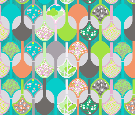 colorful gardening shovels fabric by katarina on Spoonflower - custom fabric