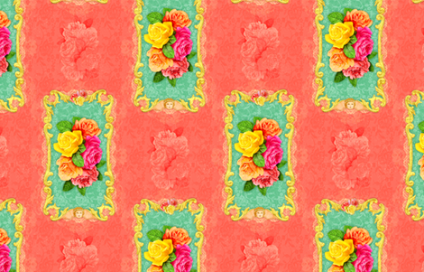 Rococo Floral fabric by dinorahdesign on Spoonflower - custom fabric