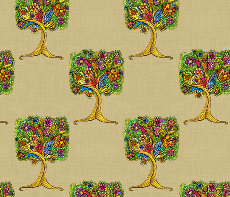 Tree _on_linen fabric by dinorahaleatelier on Spoonflower - custom fabric