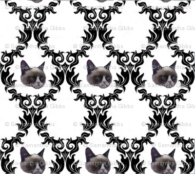 Grumpy Cat Damask