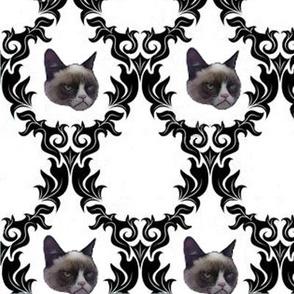 Grumpy Cat Damask