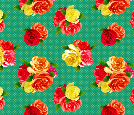 50's Floral fabric by dinorahaleatelier on Spoonflower - custom fabric