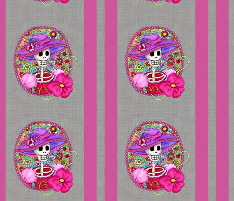Mexican Skull Illustration fabric by dinorahdesign on Spoonflower - custom fabric