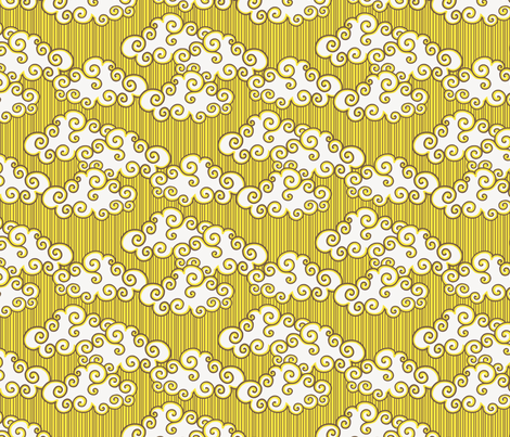 Gepetto Cottage Clouds - Yellow fabric by siya on Spoonflower - custom fabric