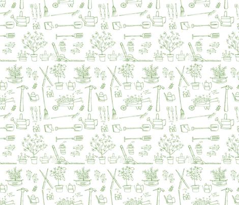 garden tools fabric by laurawrightstudio on Spoonflower - custom fabric