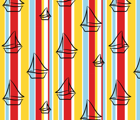 Pequot Regatta 1970 fabric by badgirlquilting on Spoonflower - custom fabric