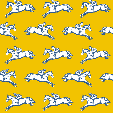 French Blue Hurdlers on Mustard fabric by ragan on Spoonflower - custom fabric