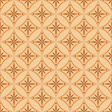 Moroccan Tiles 2 - Orange fabric by shannonmac on Spoonflower - custom fabric