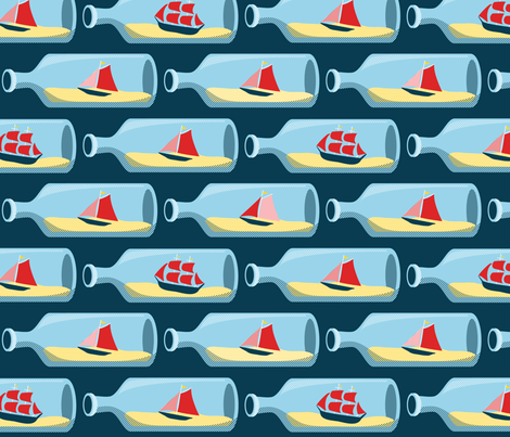 Ships in bottles fabric by ebygomm on Spoonflower - custom fabric