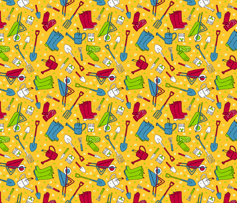 Garden Tools fabric by amandamcgee on Spoonflower - custom fabric