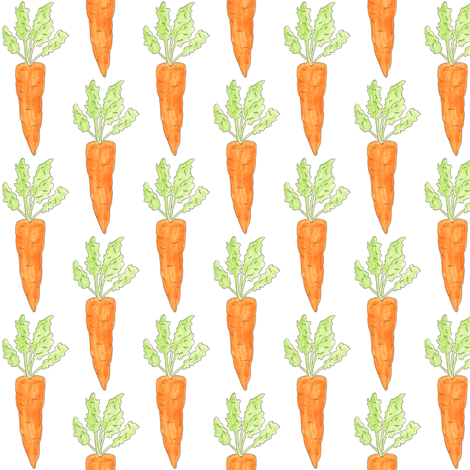 small carrots on white fabric by ultrapacifist on Spoonflower - custom fabric