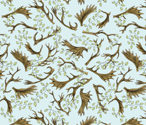 Antlers & Leaves fabric by whimsymilieu on Spoonflower - custom fabric
