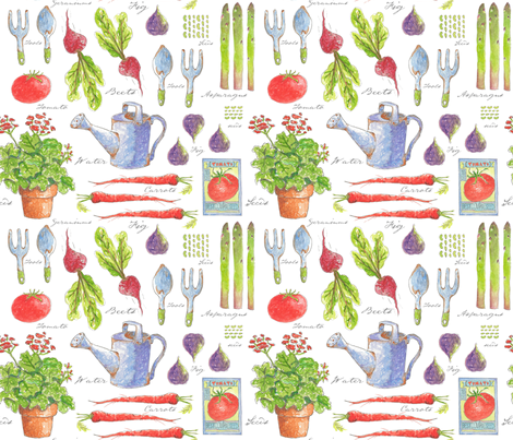 My Garden Sketchbook fabric by pattyryboltdesigns on Spoonflower - custom fabric