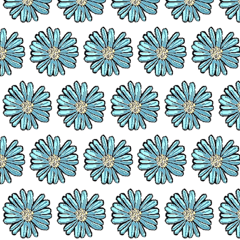 Painted blue daisy 01 fabric by dk_designs on Spoonflower - custom fabric