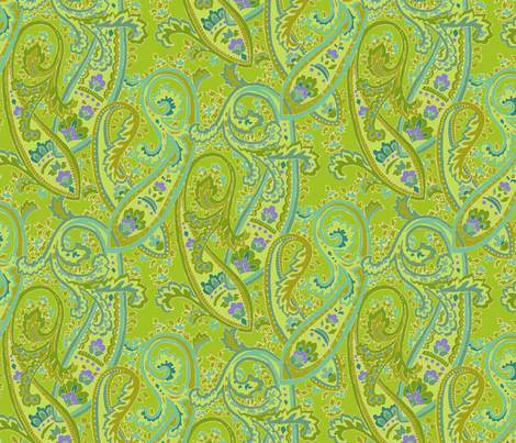 chartreuse_paisley fabric by kelly_a on Spoonflower - custom fabric