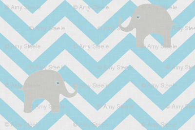 Baby Elephants in Aqua