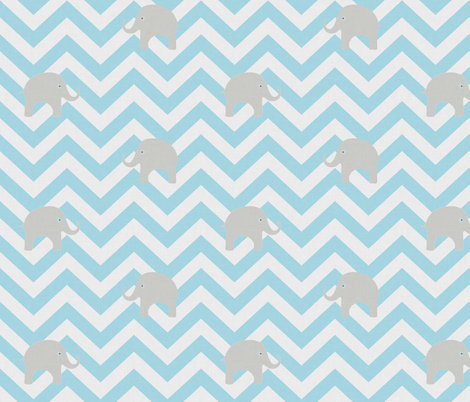 Baby Elephants in Aqua fabric by willowlanetextiles on Spoonflower - custom fabric
