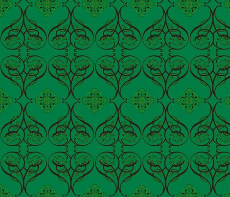 Art Nouveau15-teal/black fabric by guylas_coastal_creations on Spoonflower - custom fabric