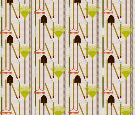 Gardening Tool Line-Up fabric by ttoz on Spoonflower - custom fabric