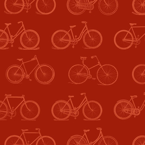 Retro Bicycles Red Pattern (large version)
