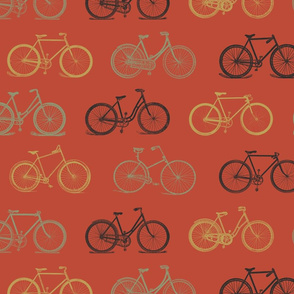 Retro Antique Bicycles on Orange (large version)
