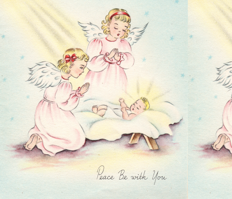 Jesus & Angels_Peace be with you fabric by lauren_king_designs on Spoonflower - custom fabric