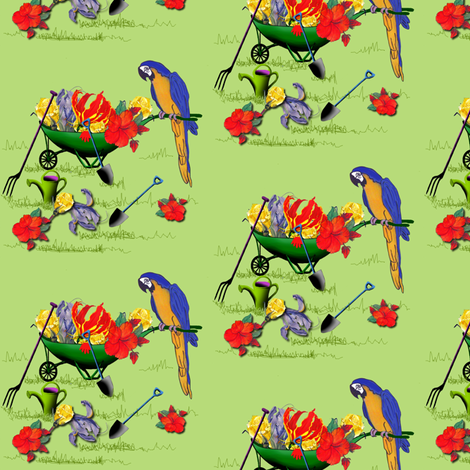 The_Garden_Fairy_s_Tools_by_Sylvie fabric by house_of_heasman on Spoonflower - custom fabric