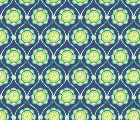 Citrus  Flower BLUE fabric by jillbyers on Spoonflower - custom fabric