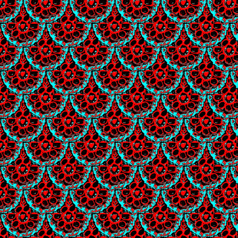red and blue flower scallop lace fabric by dk_designs on Spoonflower - custom fabric