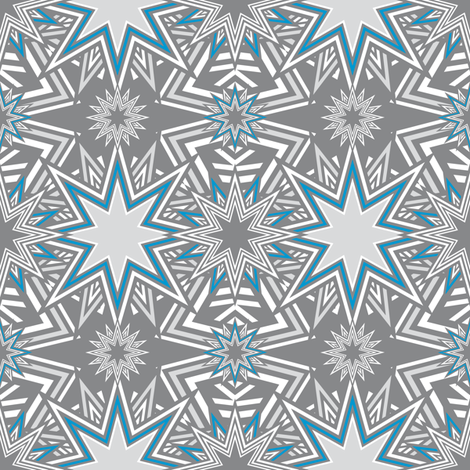 Stars_Mosaic_blue fabric by vannina on Spoonflower - custom fabric