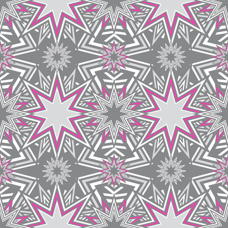 Stars Mosaic pink fabric by vannina on Spoonflower - custom fabric