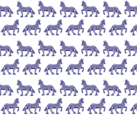 Navy Zebras fabric by ragan on Spoonflower - custom fabric