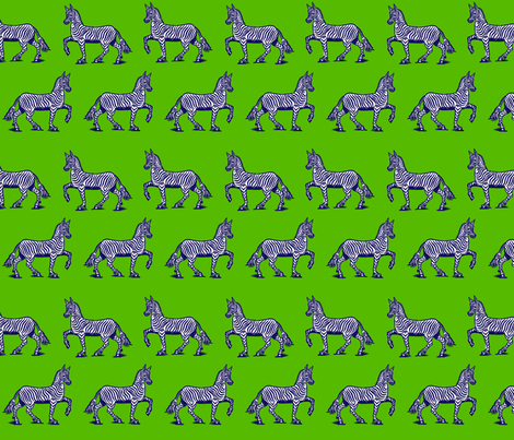 Navy Zebras on green fabric by ragan on Spoonflower - custom fabric