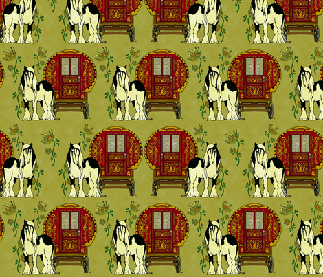 Gypsy Wagon and Vanner! Aged fabric by joojoostrees on Spoonflower - custom fabric