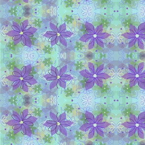 Purple__aqua_and_green_soft_floral
