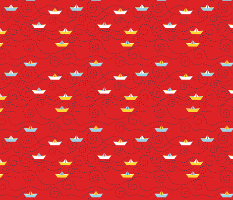 paper_s_boat__rouge_M fabric by nadja_petremand on Spoonflower - custom fabric