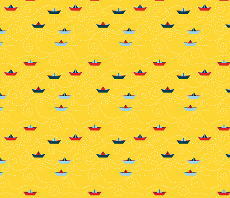 paper_s_boat__jaune_M fabric by nadja_petremand on Spoonflower - custom fabric