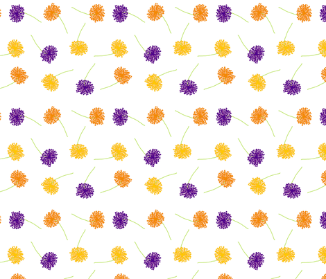 Scattered dandelions purple fabric by mudpiesandpins on Spoonflower - custom fabric