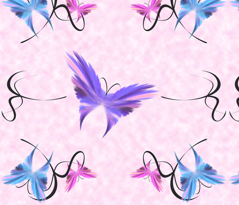 Butterflies over Pink Background fabric by bluewrendesigns on Spoonflower - custom fabric