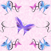 Butterflies over Pink Background
