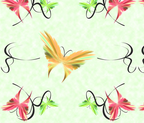 butterflies_green fabric by bluewrendesigns on Spoonflower - custom fabric