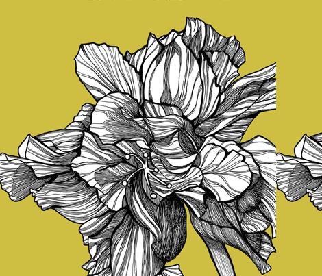 HibiscusLine_Fabric_onChartreuse fabric by brownwilliam_llc on Spoonflower - custom fabric