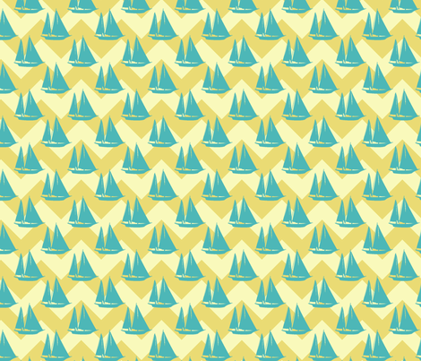 sailboat_yellow fabric by littlerhodydesign on Spoonflower - custom fabric