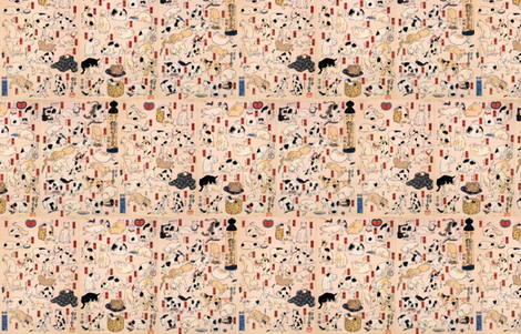 Kuniyoshi's Cats fabric by katielukas on Spoonflower - custom fabric