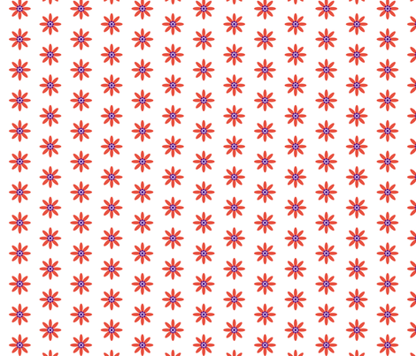 Red daisys fabric by mudpiesandpins on Spoonflower - custom fabric