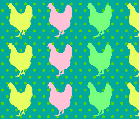 CHICKEN POP ART Green Polka fabric by thelittleengine on Spoonflower - custom fabric