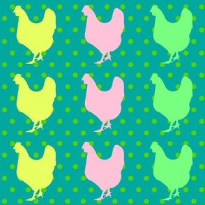 CHICKEN POP ART Green Polka