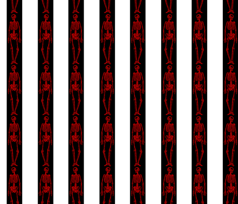 Red Skeletons with Black and White Stripes fabric by cloudycapevintage on Spoonflower - custom fabric