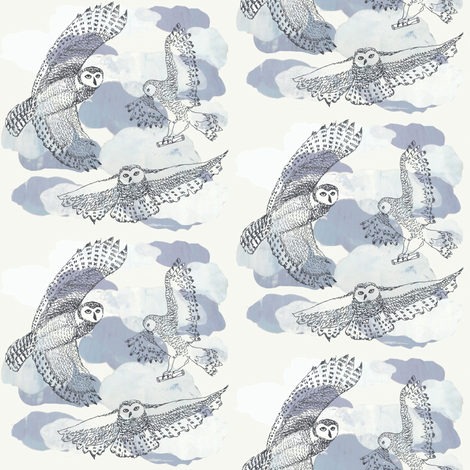 owls fabric by vonblohn on Spoonflower - custom fabric